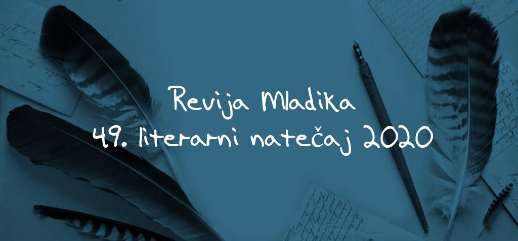 Revija Mladika, 49. literarni natečaj 2020 (črni napis na modri podlagi s peresi)