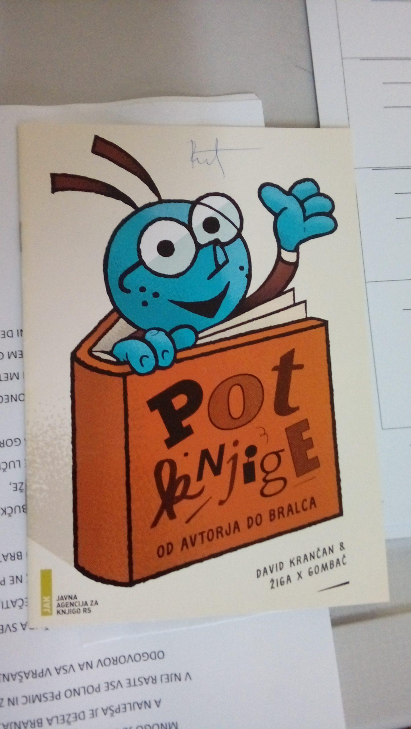 Risba knjige, napis_ Pot knjige od avtorja do bralca.