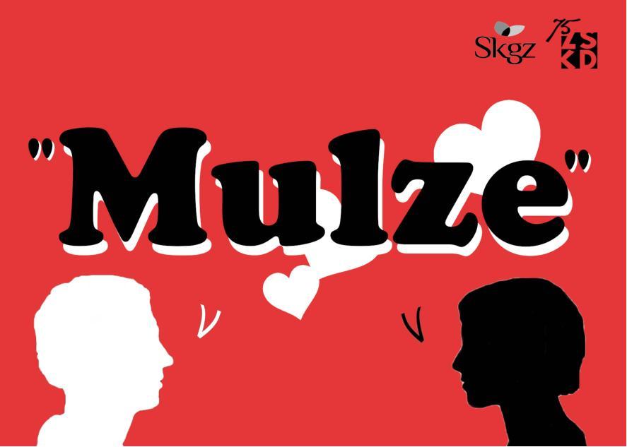 Na rdeči podlagi napis Mulze.