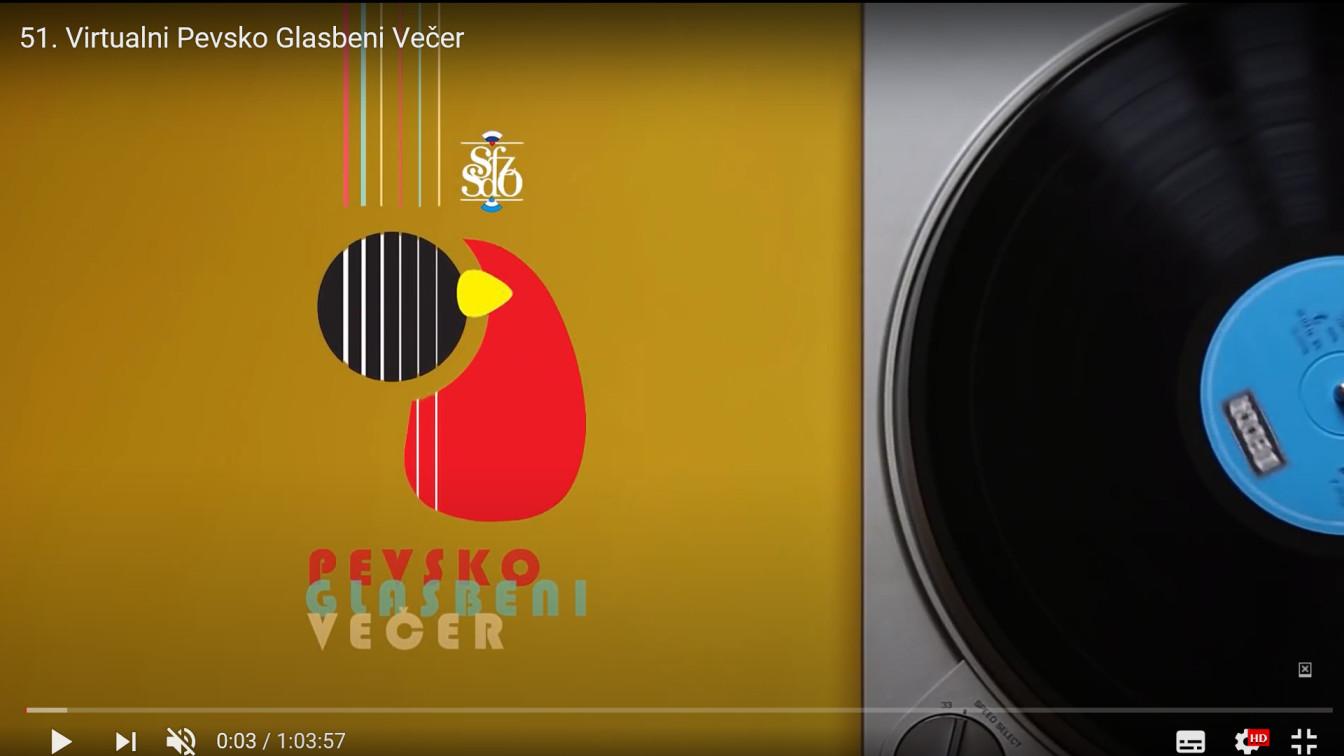 Posnetek zaslona pevsko glasbenega večera na Youtubu. Naslovna slika prireditve.