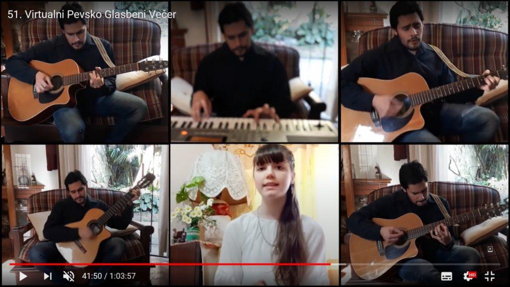 Posnetek zaslona pevsko glasbenega večera na Youtubu. Udeleženci prireditve