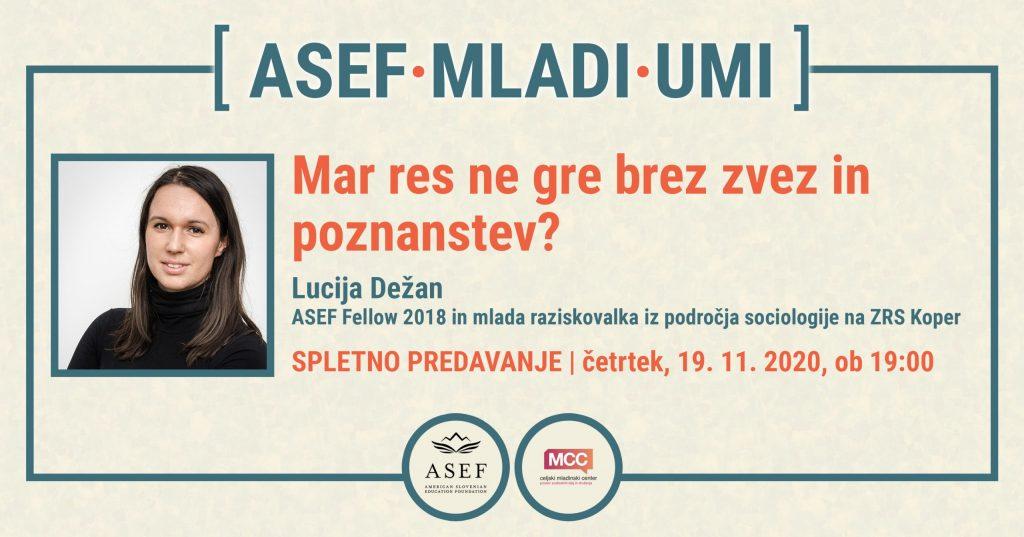 Udeleženka predavanja ASEF mladi umi, Lucija Dežan.