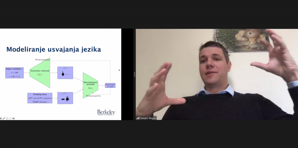 Posnetek zaslona na katerem predavatelj, docent Gašper Beguš govori o umetni inteligenci.