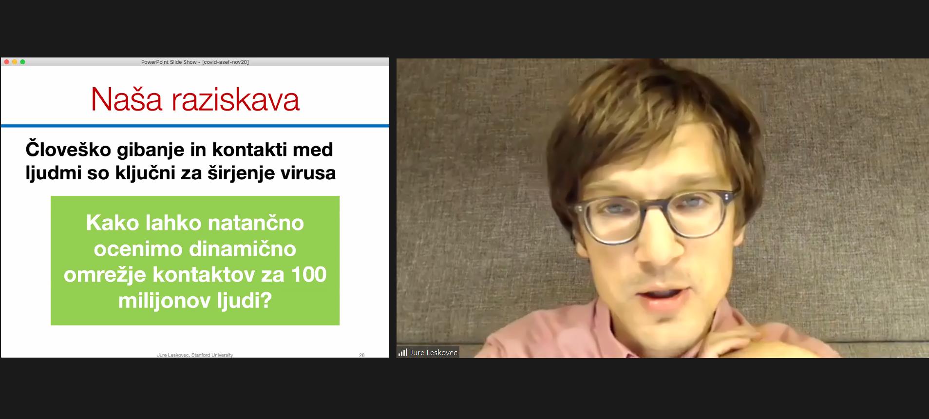 Posnetek zaslona, na katerem je Jure Leskovec.