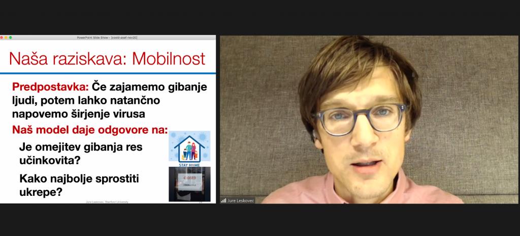 Posnetek zaslona, na katerem je dr. Jure Leskovec.