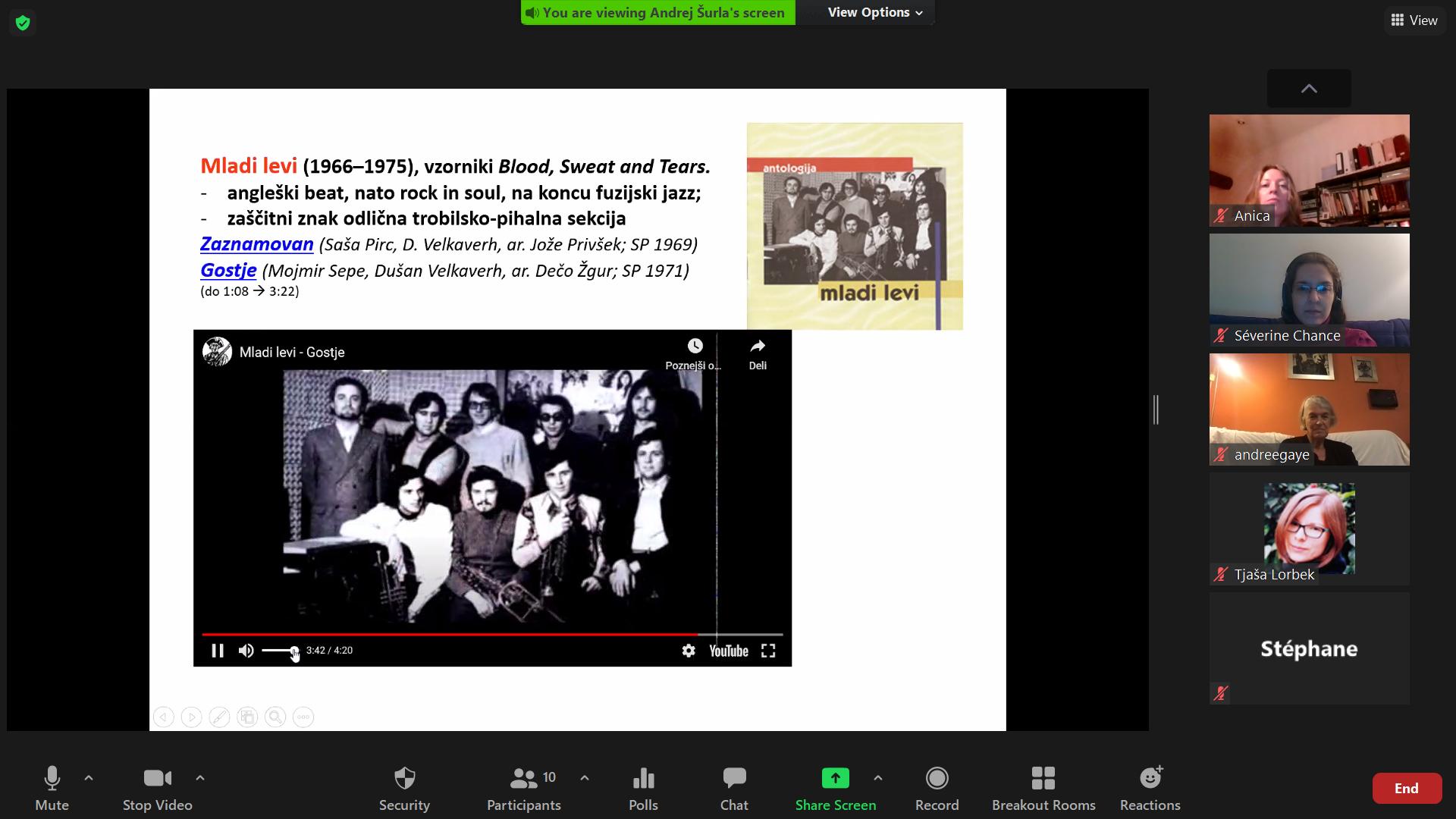 posnetek zaslona predstavitve razvoja slovenske zabavne glasbe