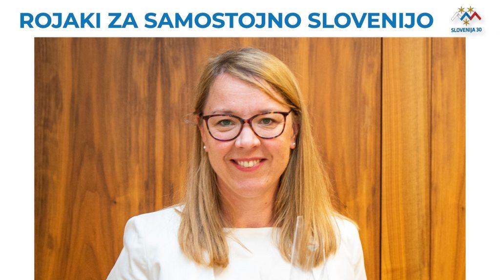 Ministrica dr. Helena Jaklitsch, na vrhu napis Rojaki za samostojno Slovenijo in logo 30. obletnice