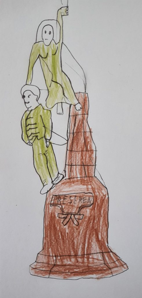 Risba spomenika franceta Prešerna.