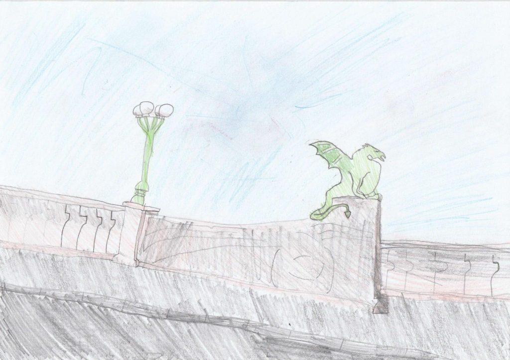 Risba zmajskega mostu.