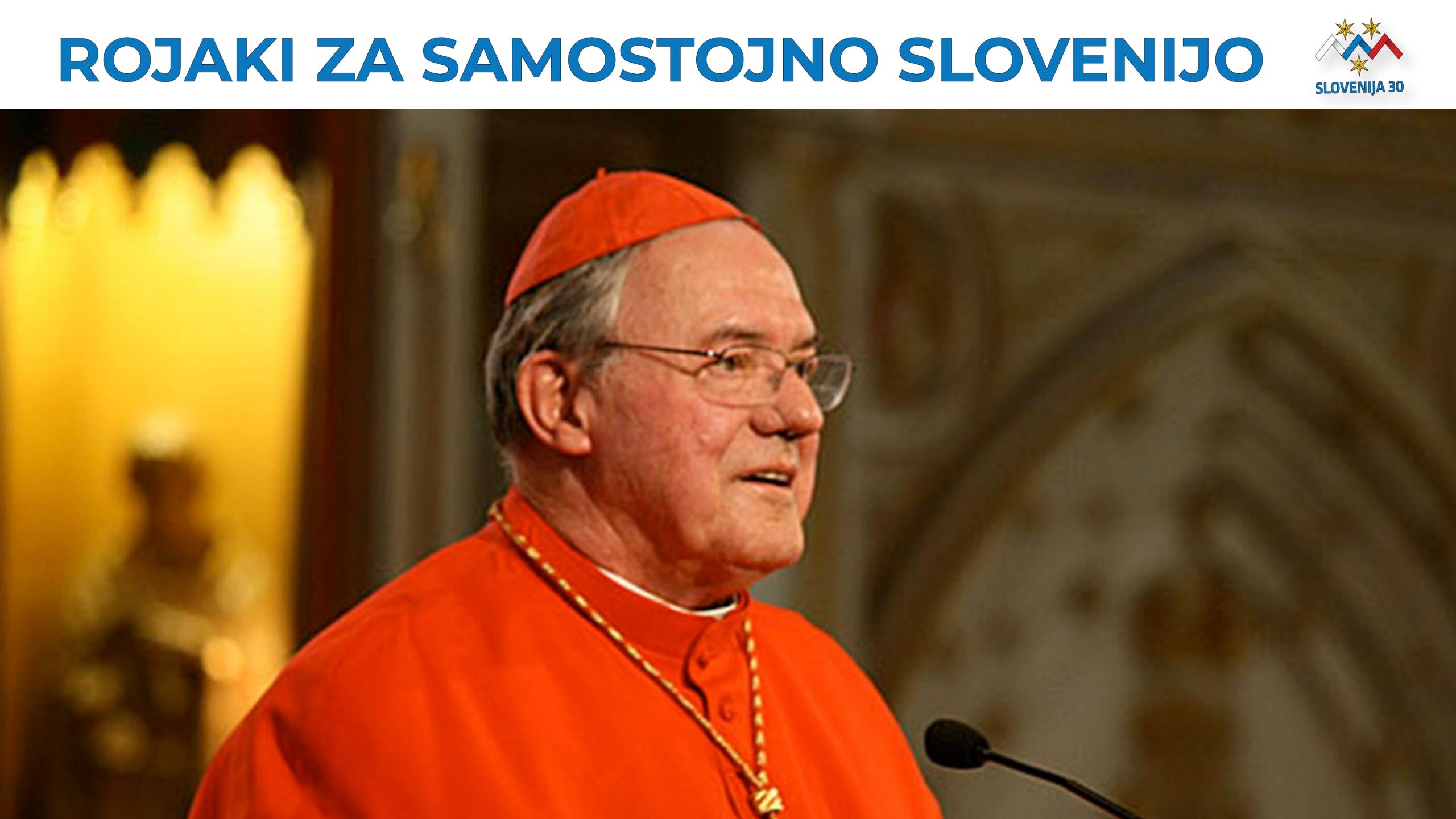 dr. ALojzij Ambrožič, na vrhu na belem traku napis Rojaki za samostojno SLovenijo in logo (simbolj Triglava v beli, modri in rdeči barvi, tri rumene zvezde in pod tem napis Slovenija 30).