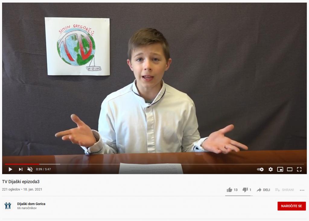 Posnetek zaslova - youtube video. Fant, ki govori, za njim narisanlogo dijaškega doma.