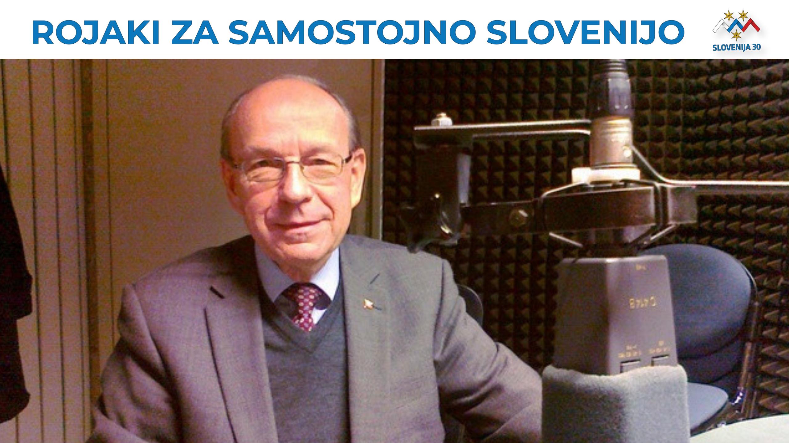 Alfred Brežnik na vrhu na belem traku napis Rojaki za samostojno Slovenijo in logo (simbolj Triglava v beli, modri in rdeči barvi, tri rumene zvezde in pod tem napis Slovenija 30).