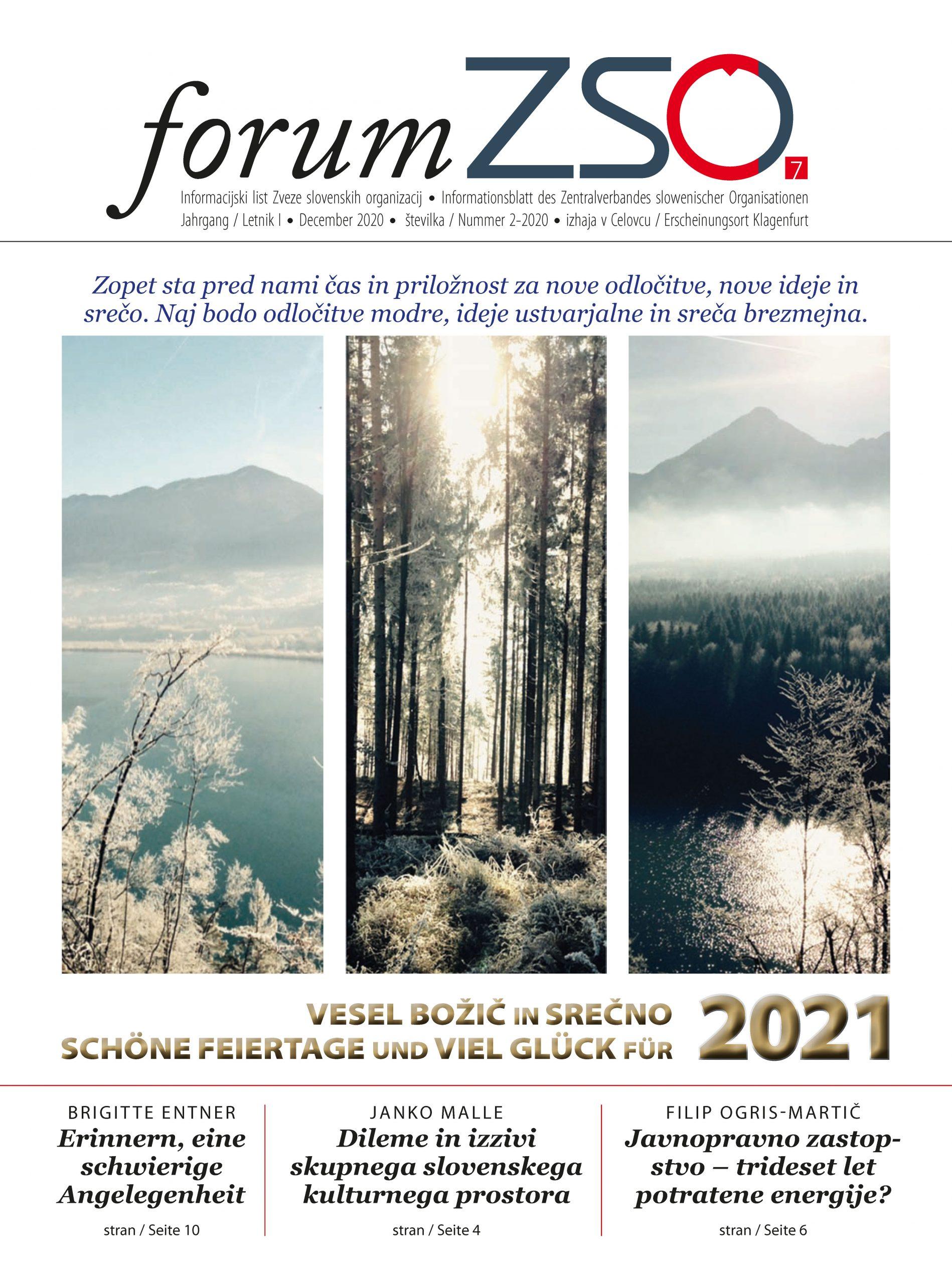 """Prva stran številke Informacijskega lista """"forum ZSO"""""""