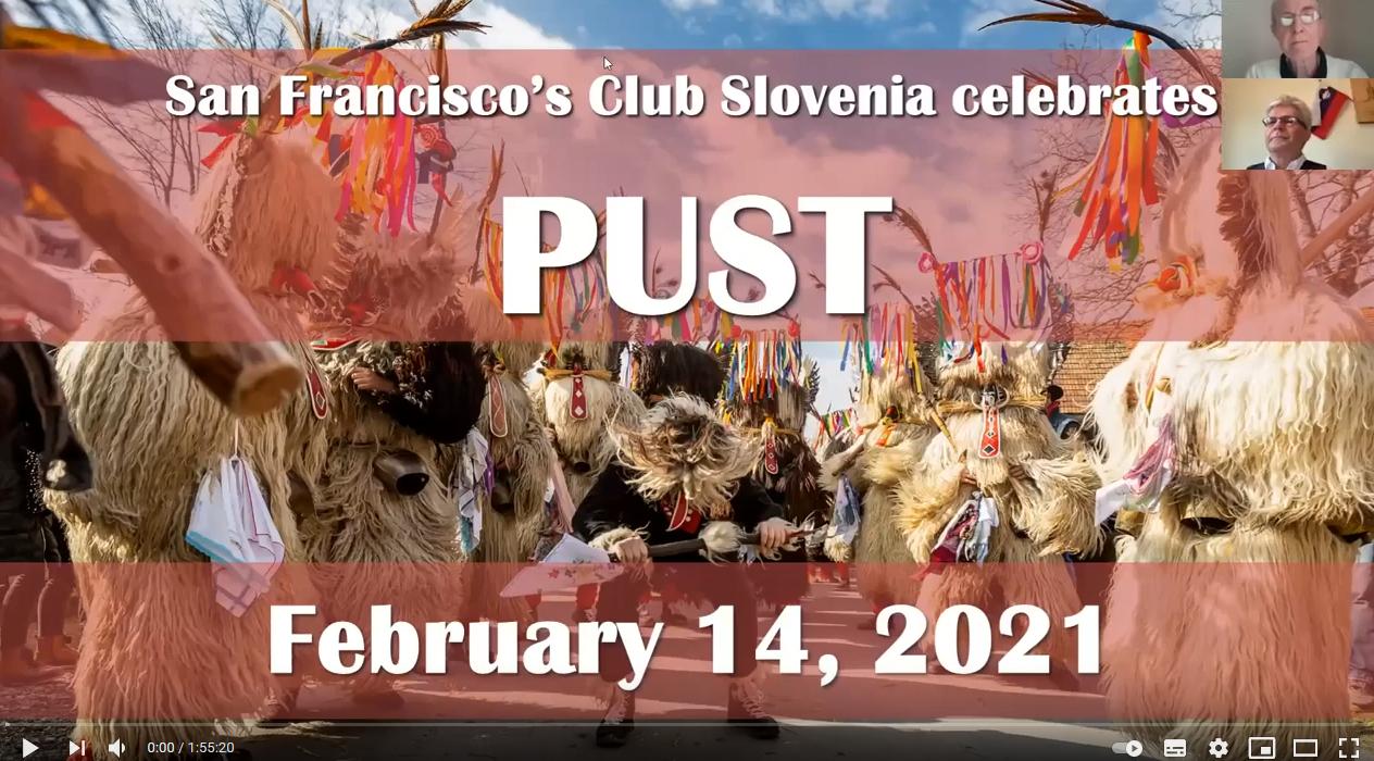 Posnetek zaslona. Kurenti, nato napis San Francisco's Club Slovenia celebrates Pust. February 14, 2021.