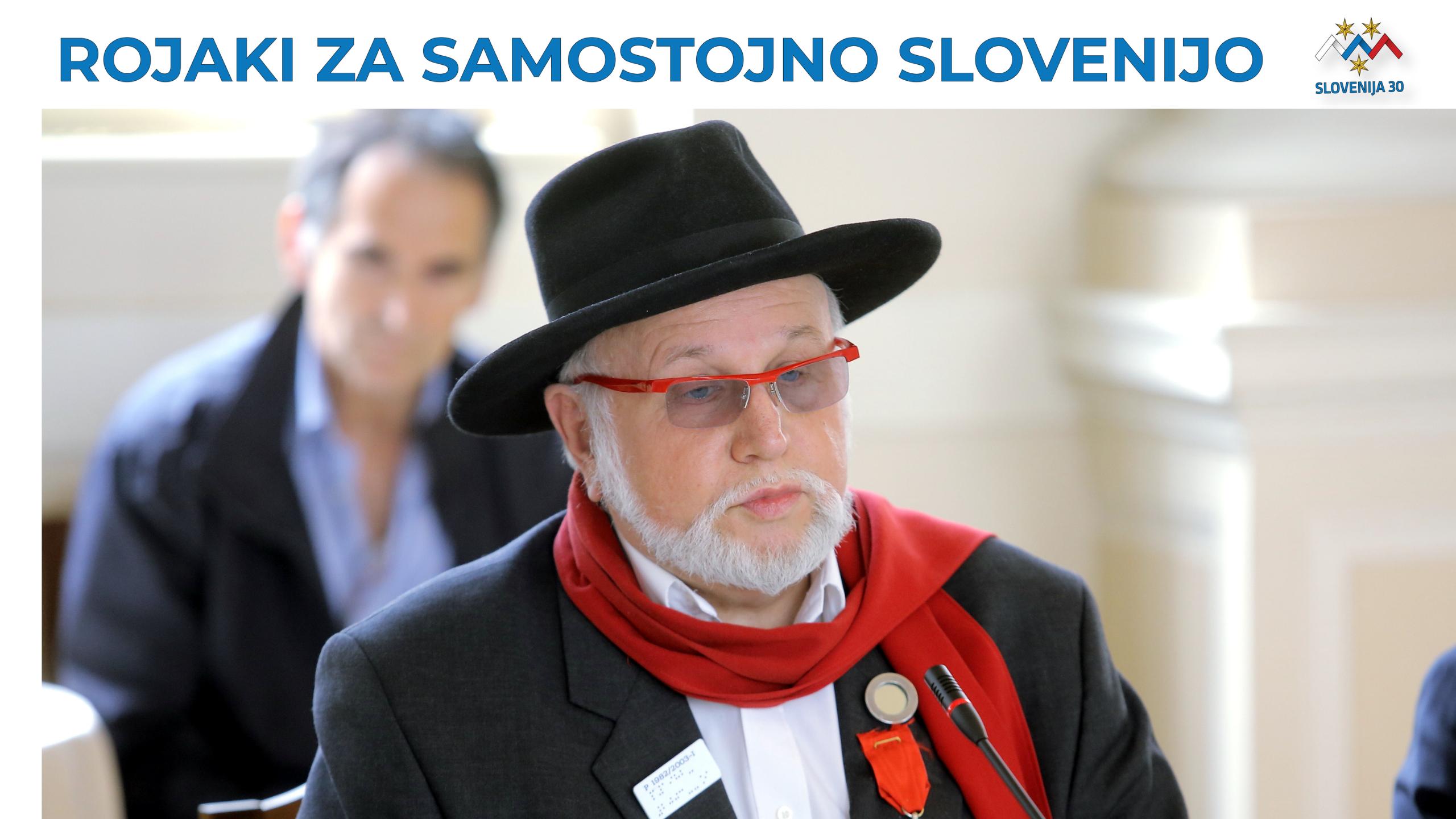 dr. Evgen Bavčar, na vrhu na belem traku napis Rojaki za samostojno SLovenijo in logo (simbolj Triglava v beli, modri in rdeči barvi, tri rumene zvezde in pod tem napis Slovenija 30).