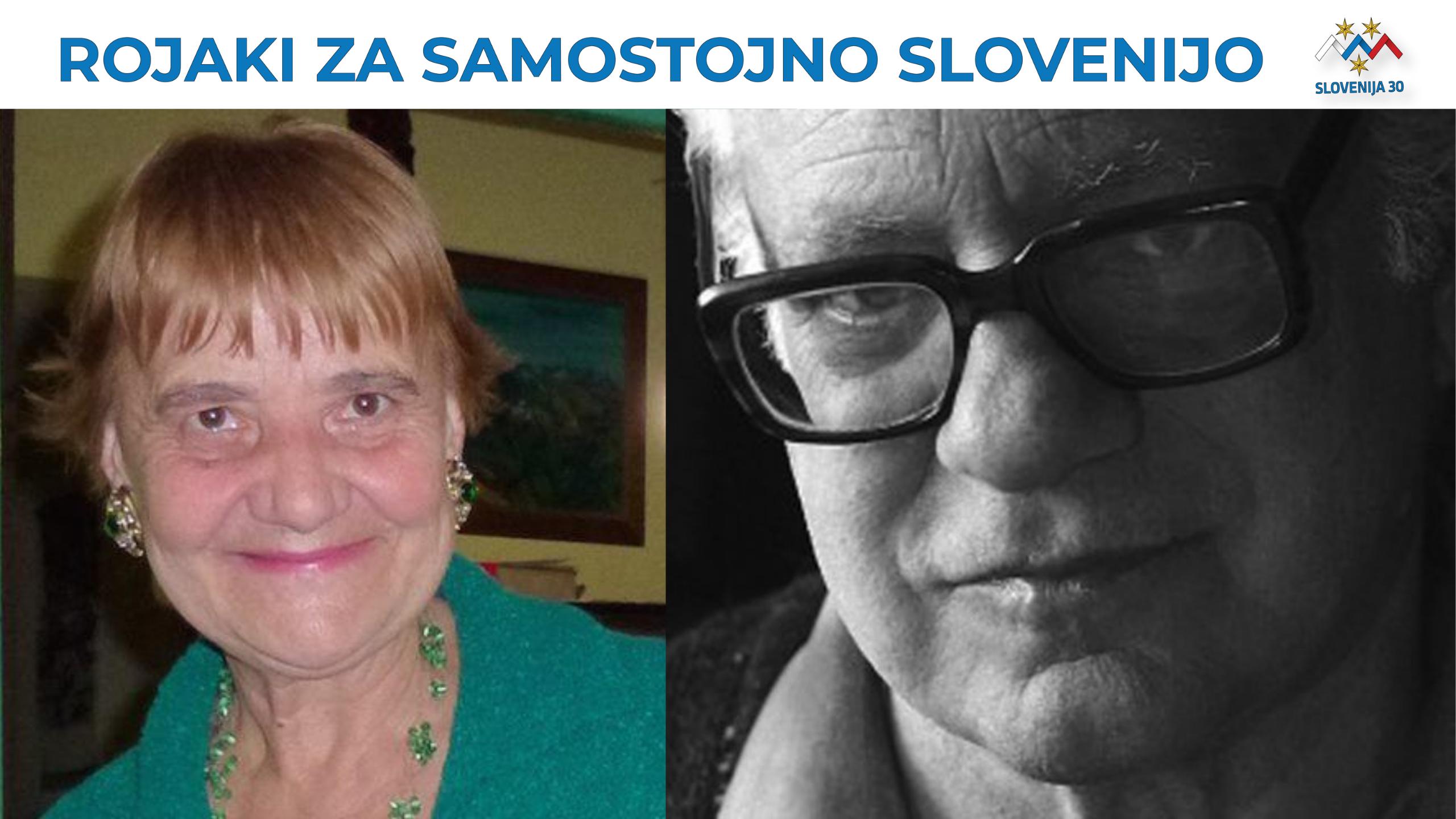 dr. Katica Cukjati in Tine Debeljak ml. (na vrhu na belem traku napis Rojaki za samostojno SLovenijo in logo (simbolj Triglava v beli, modri in rdeči barvi, tri rumene zvezde in pod tem napis Slovenija 30).