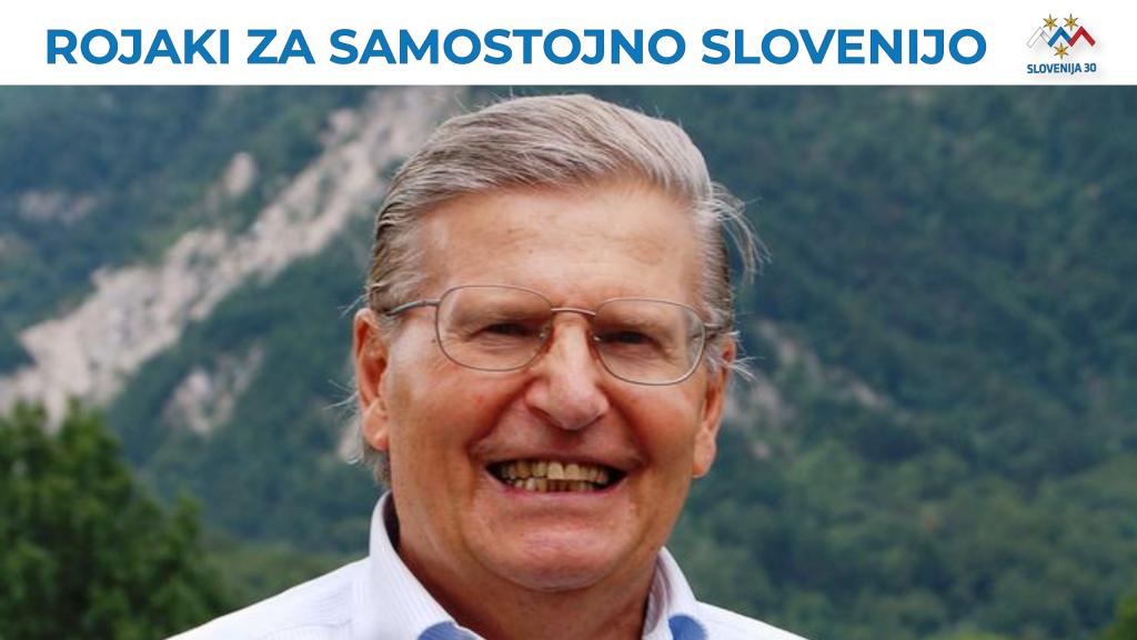 Viljem Černo, na vrhu na belem traku napis Rojaki za samostojno Slovenijo in logo (simbol Triglava v beli, modri in rdeči barvi, tri rumene zvezde in pod tem napis Slovenija 30).