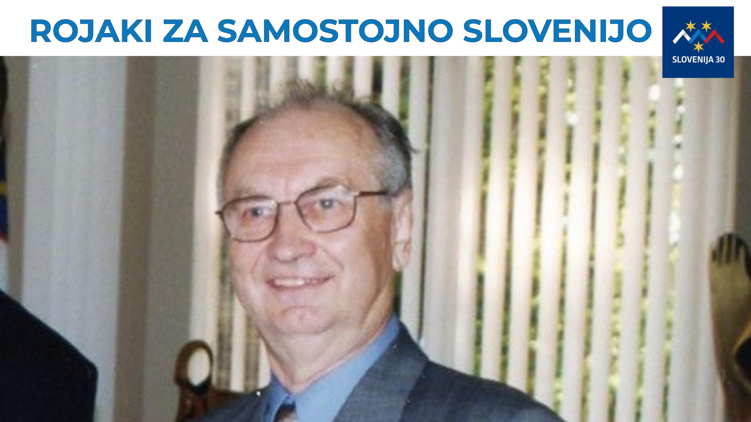 Ciril Soršak, na vrhu na belem traku napis Rojaki za samostojno Slovenijo in logo (simbol Triglava v beli, modri in rdeči barvi, tri rumene zvezde in pod tem napis Slovenija 30).