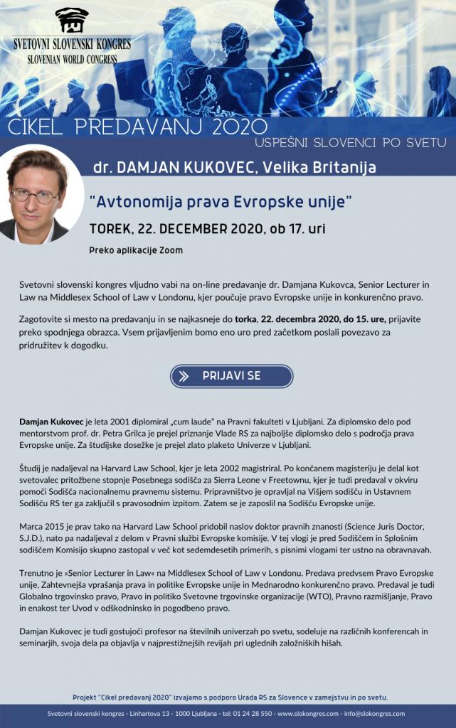 Letak dogodka Avtonomija prava Evropske unije, dr. Damjan Kukovec