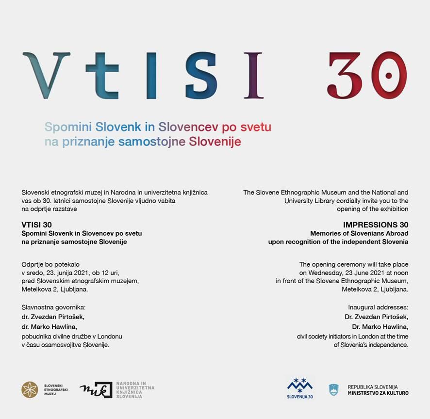 Letak razstave VTISI 30, Spomini Slovenk in Slovencev po svetu na priznanje samostojne Slovenije